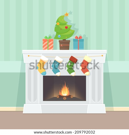 Christmas Card with fireplace - stock vector