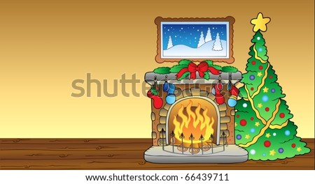 Christmas card with fireplace 1 - vector illustration. - stock vector
