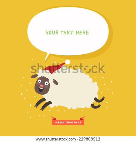 Christmas card with funny running sheep and bubble for text. Vector colorful illustration in flat design style - stock vector