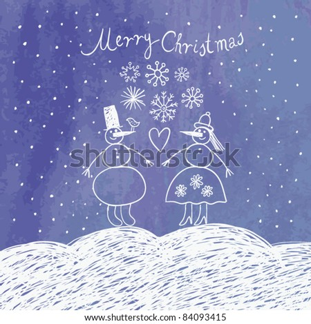 Christmas card with funny snowman - stock vector