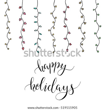 christmas card garland letters happy holidays stock vector royalty