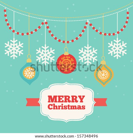 Christmas card with garlands and balls - stock vector