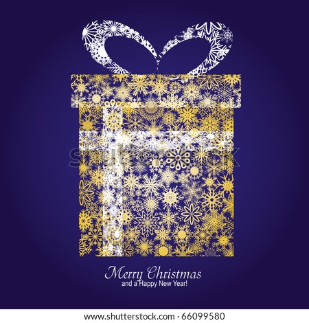 Christmas card with gift box made from gold snowflakes on blue background and a wish of Merry Christmas and a Happy New Year, vector illustration - stock vector