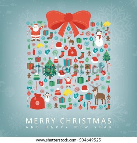 christmas card gift box sillhouette christmas stock vector royalty