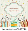 Christmas card with gift boxes - stock vector