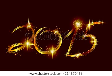 Christmas card with glow gold 2015. Vector - stock vector