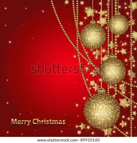 Christmas card with gold balls and tinsel. Christmas postcard for your design. All elements are in separate layers and grouped, easy to edit. - stock vector