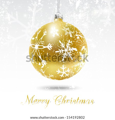 Christmas card with golden ball in white, vector illustration. Snow flakes texture can be removed to have a clean decorated bauble - stock vector