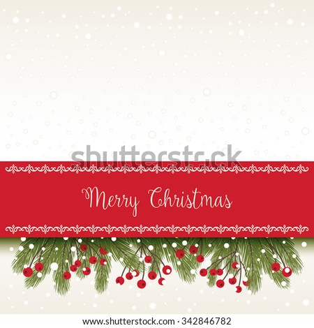 Christmas Card with Greetings - stock vector