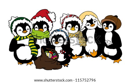 christmas card with group of illustrated penguins - stock vector