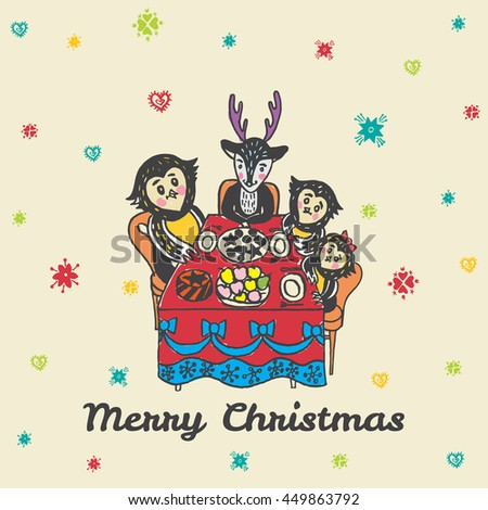 Christmas card with hand drawn animals. Vector hand drawn illustration of Reindeer and Owls characters on beige background. - stock vector