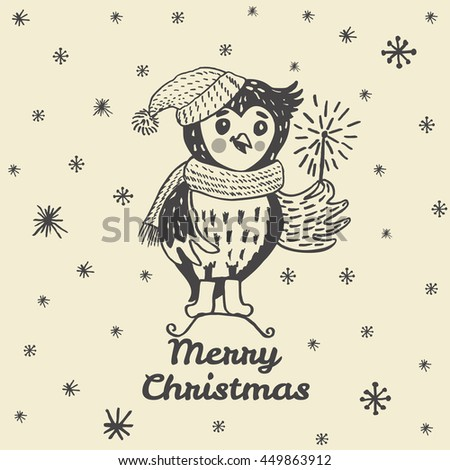 Christmas card with hand drawn Owl. Vector hand drawn illustration of Owl character on beige background. - stock vector