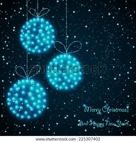 christmas card with hanging balls
