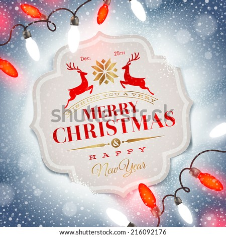 Christmas card with holiday type design and Christmas light - stock vector