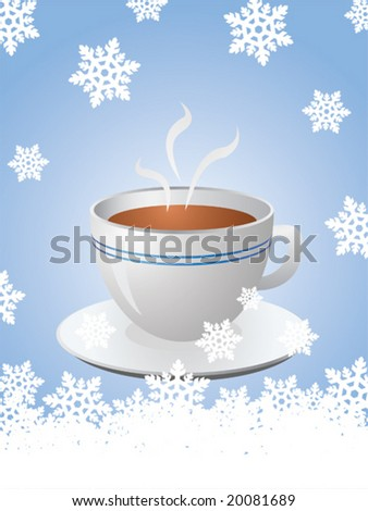 Christmas card with hot cup of coffee and snowflakes - stock vector