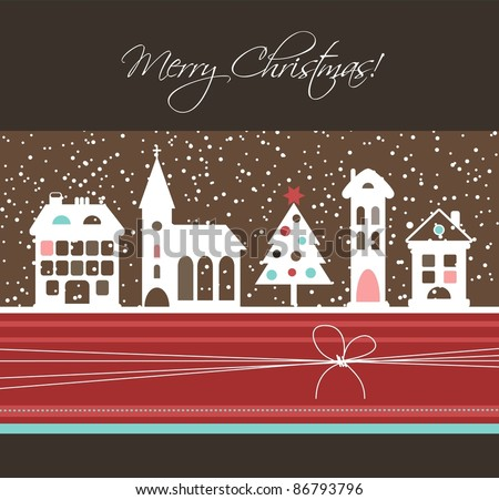 Christmas card with houses and tree, vector - stock vector