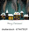 Christmas card with houses, vector - stock vector