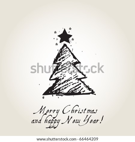 Christmas card with ink Christmas tree - stock vector