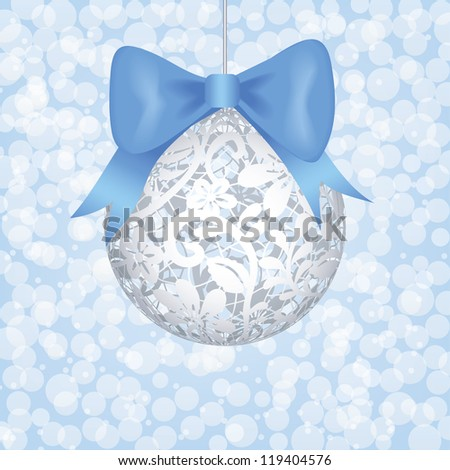 Christmas card with lace bauble and blue bow. EPS 10 - stock vector