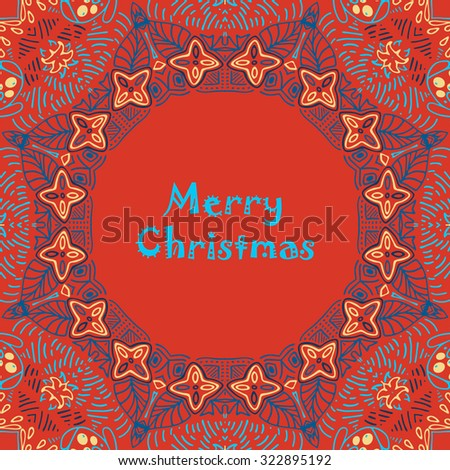 Christmas card with Merry Christmas text with decorations. Nature Floral ornament as a snowflake circle silhouette: berry, flower. Brown, red, purple, yellow colors. Vector eps10. - stock vector
