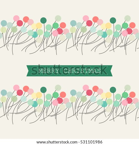 Christmas card with multicolored abstract circle garlands. Seamless vector design