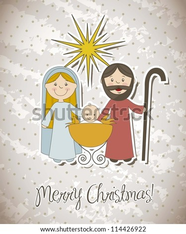 christmas card with nativity scene. vector illustration - stock vector