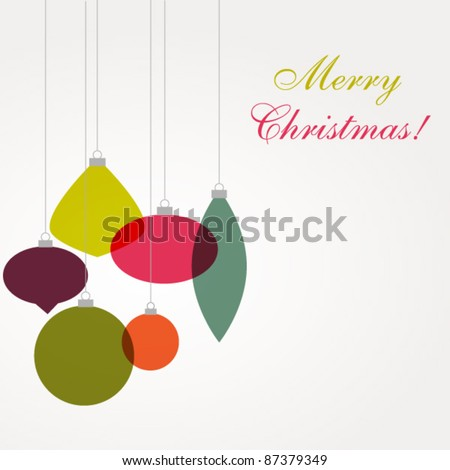 Christmas card with ornaments - stock vector
