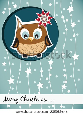 Christmas card with owl - stock vector