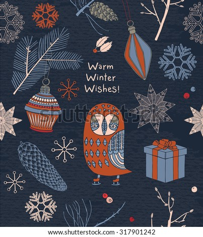 Christmas card with owl, snowflakes and gifts