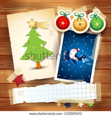 Christmas card with paper elements and portrait of Santa on the plane, vector - stock vector