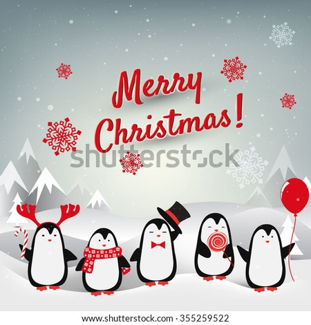 Christmas card with penguins. Vector background - stock vector