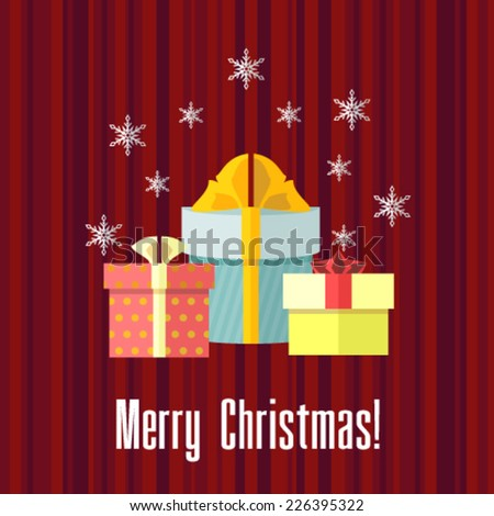 Christmas card with presents - stock vector