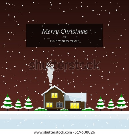 Christmas card with private house, trees and falling snow, flat style illustration