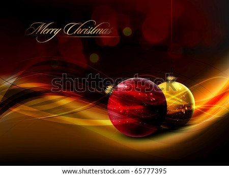 Christmas Card with Realistic Balls and Shiny Wet Drops | Vector Illustration - stock vector