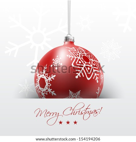 Christmas card with red ball in white snowflakes background, vector illustration. - stock vector