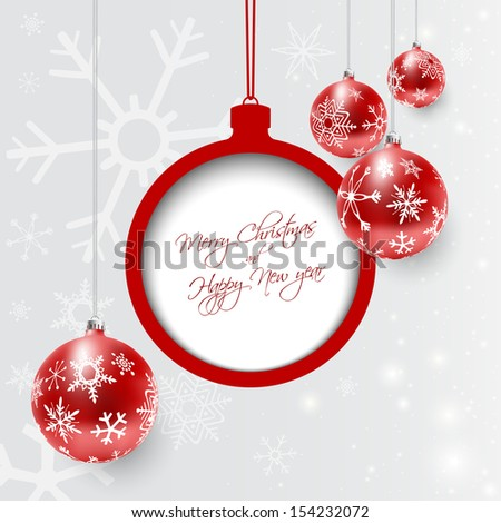 Christmas card with red dull decorated balls in white, vector illustration.