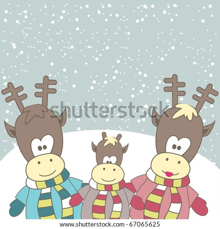 Christmas card with  Reindeer family. Vector illustration - stock vector