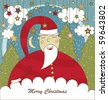 Christmas Card with Santa - stock vector