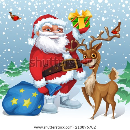 Christmas card with Santa and Reindeer - stock vector