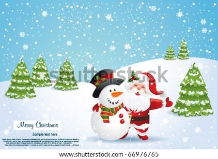 Christmas card with Santa and snowman - stock vector