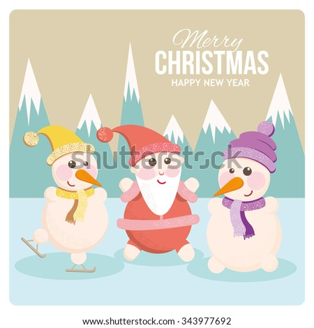 Christmas card with Santa and snowman Cartoon smiling  Santa in a red cap. Greeting Card Happy New Year and Merry Christmas. Greeting inscription. Vector illustration - stock vector