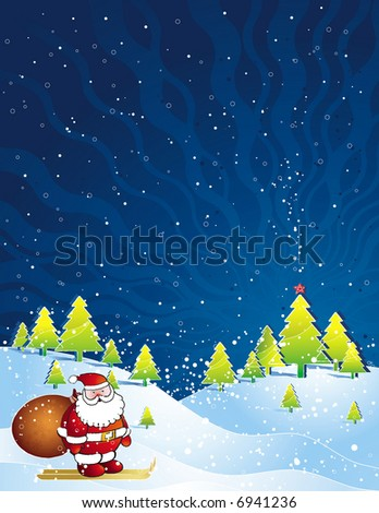 christmas card  with Santa Claus and snowflakes in the blue sky, vector illustration