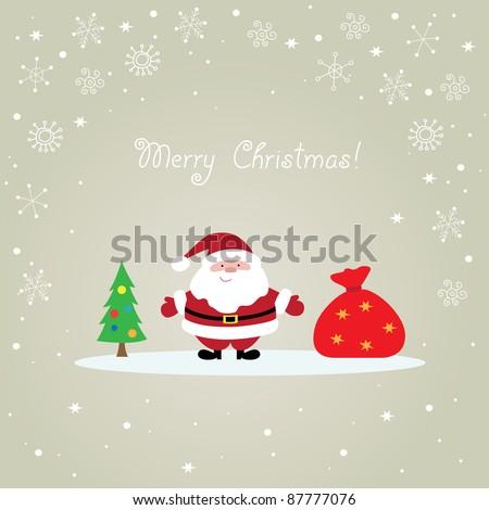 Christmas card with Santa Claus, bag and tree - stock vector