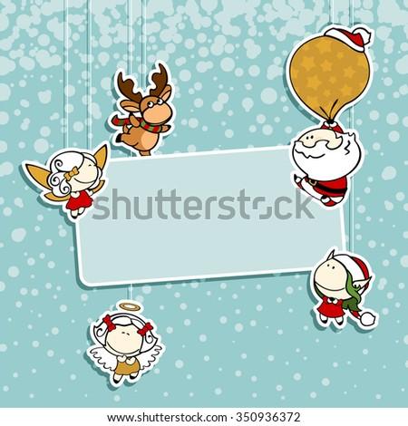 Christmas card with Santa Claus, reindeer, fairies and angel - stock vector