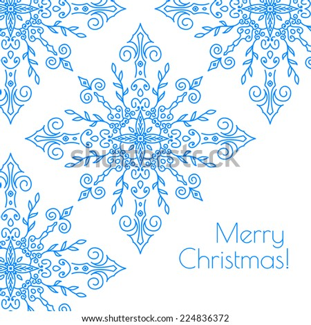 Christmas card with snowflakes. Merry Christmas! Template congratulations christmas. Hand drawn snowflake. - stock vector