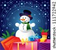 Christmas card with snowman and gifts - stock vector