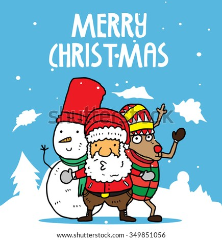 Christmas card with snowman santa claus and reindeer