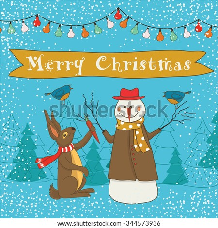 Christmas card with snowmen and hare