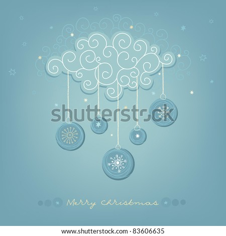 Christmas card with snowy cloud - stock vector