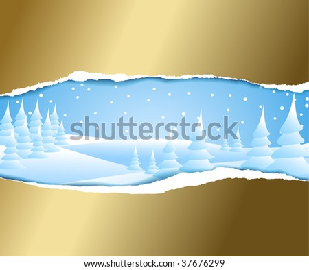 Christmas card with snowy winter landscape